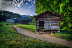 Dan Lawson Place (Barns and Out Buildings), 2019.08.19 (Aaron Glenn Campbell) Tags: danlawsonplace buildings barn cadescove looptrail gsmnp smokymountains nps townsend tennessee tn morning fog mist smoke macphun skylum aurorahdr 3xp ±3ev hdr nikcollection viveza colorefexpro sony a6000 ilce6000 mirrorless rokinon 12mmf2 wideangle primelens manualfocus emount