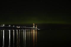 Mighty Mac under the Northern Lights (jsiegelphotos) Tags: reflection bridge mackinacbridge michigan northernlights auroraborealis