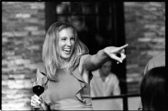 JamieClarkWeddingFilm182_edited-1 (Johnny Martyr) Tags: film black white point finger girl woman smile happy laugh fun dance party reception wedding dress drink wine bokeh nikon nikkor kodak