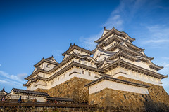 Himeji castle of Japan with blue sky (jack-sooksan) Tags: himeji hyogo japan castle history historical building ancient old famous asia asian white japanese winter blue sky travel architecture unesco wall design tourist tour exterior outdoor historic heritage beautiful tourism culture landmark