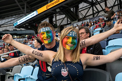 Fans painted with Equal Pay and rainbow flags (Lorie Shaull) Tags: uswnt uswomensnationalteam soccer allianzfield equalpay rainbowflag