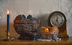Old Mantel Clock And Lace (mevans4272) Tags: clock lace fruit candle life still basket