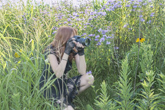 The Photographer (marylee.agnew) Tags: photographer camera self red hair flowers hiding camouflage nature portrait lace