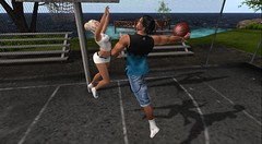 Playing basketball with my Baby (antoniohunter55) Tags: signature gianni maitreya secondlife sl bento catwa nomatch hair black cats poses basketball day 4 court only 39 impact copy modify isabelleize sport
