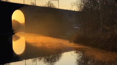 Smoke on the Water (kate willmer) Tags: dawn sunrise light reflections mist water bridge sunlight trees arch morning canal wolverhampton uk