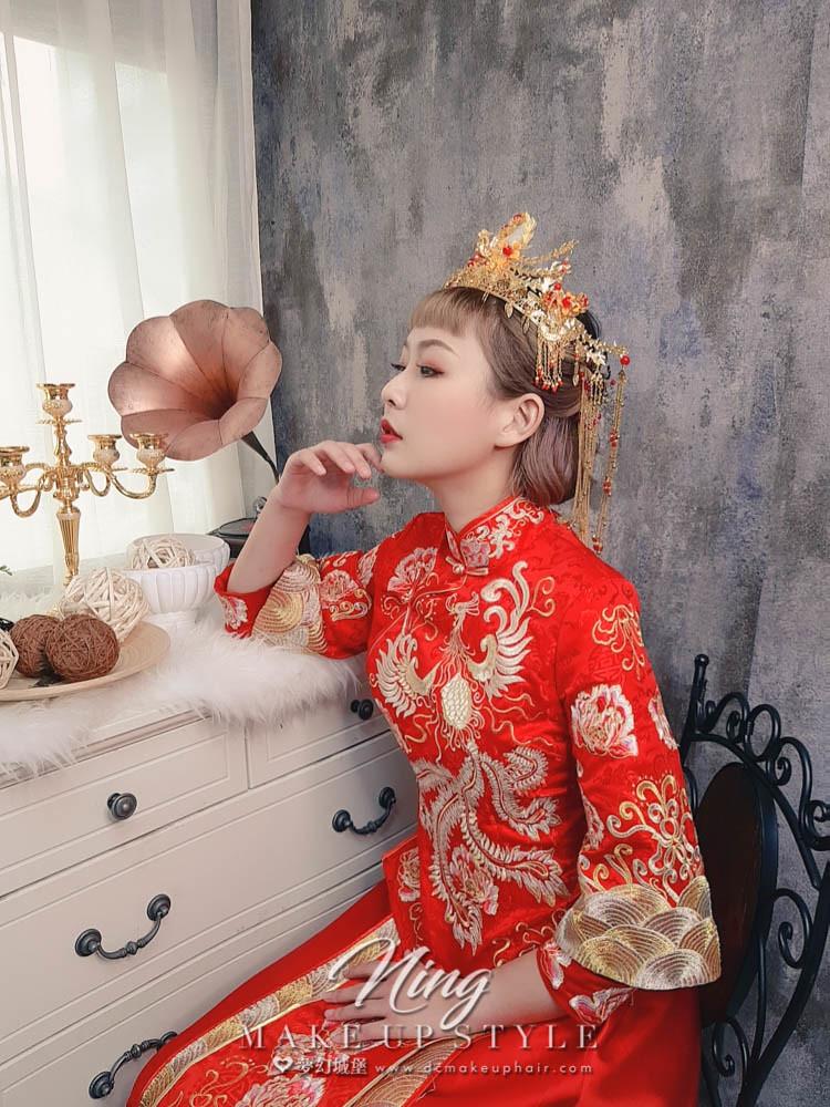 【新秘羽寧】新娘造型創作 /  短髮-龍鳳掛造型