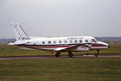 G-BHJZ Banderante Willow air Coventry 27-09-94 (cvtperson) Tags: gbhjz embraer emb110 bandeirante willow air coventry airport cvt egbe