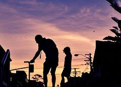 Humans and perspective (Alexandra Kfr) Tags: street sunset people child sunlight purple orange colours contrast father love sky sydney australia black light exposure photograpy city walking