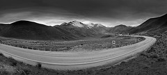 Better in mono? (dave.fergy) Tags: leadinglines mountains overcast panorama road snow southisland2018 monochrome