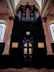 The Church Organ (Steve Taylor (Photography)) Tags: ststephenwalbrook 39walbrook ec4 church sirchristopherwren clock organpipes exit face eyes architecture digitalart contrast brown black mauve pink eerie spooky triangle