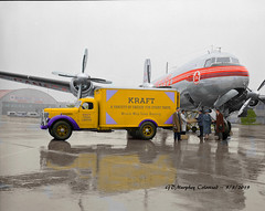 IH Kraft and Canada Air Lines Colorized (gdmey) Tags: international internationaltruck kb aircraft truck fallenflag colorized