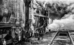 Getting Oliver Cromwell Ready - Number 2 (photofitzp) Tags: 70013 bw blackandwhite britanniaclass gcr grime loughborough olivercromwell railways smoke steam