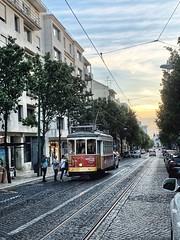 Campo de Ourique (marc.barrot) Tags: sunset portugal lisboa lisbon streetphotography urbanlandscape 1350 campodeourique shotoniphone ruasaraivadecarvaho tram elétrico pôrdosol