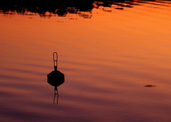 A buoy and sunset.