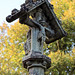 Church of St Andrew, Nuthurst, West Sussex - churchyard gabled cross column monument detail 02