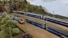 Rush Hour at Weaver Hill. (ManOfYorkshire) Tags: weaverhill scale model railway train layout fast slow lines 176 oogauge scotrail caledoniansleeper class 90 hst coaches exhibition 2019 show loughborough soarvalley