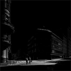 And Then They Were Two (Olli Kekäläinen) Tags: work5149 nikon d800 photoshop ok6 square ollik 2019 20190904 bw dark woman man shadows helsinki suomi finland darkness