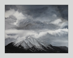 Storm Clouds over Mount Sopris II *Explore* (bellydanser) Tags: art artwork painting fineart watercolor mountain mountsopris sopris rockies colorado carbondale sky skies clouds storm watermedia monochromatic bw blackandwhite rockymountain weather fog crystalrivervalley