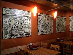 Comic Art Walls 1 | Howie's Artisan Pizza | Palo Alto, California (steveartist) Tags: cartoons wallart afterrcrumb artistkatiehope 2011 howie'sartisanpizza paloalto snapseed photostevefrenkel