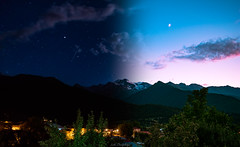 Night and Day (Lasha Bandzeladze) Tags: mountain land night day sunset moon stars galaxy sky astro astrophotography hiking trees blue red green svaneti georgia landscape world nature