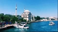 (joyayoub) Tags: ocean blue boat yacht mosque turkey istanbul trees white