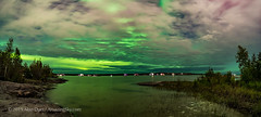 Aurora in Clouds over Yellowknife bay (Amazing Sky Photography) Tags: aurora northernlights yellowknife bay water houseboats clouds lake nwt panorama