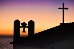 Carvoeiro Shrine Sunset (Eyes Open To Life) Tags: sunset shrine chapel steeple bells ocean building roof shilouette church portugal