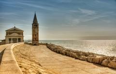 Chiesa sul mare (giannipiras555) Tags: chiesa mare scogli campanile nuvole caorle alba sole arte architettura panorama seascape