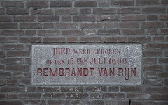 Place where the birthplace of Rembrandt van Rijn (fnks) Tags: rembrandtvanrijn painter artist denachtwacht leiden holland thenetherlands goldenage paintings university latinschool museum delakenhal galgewater mill citycarpenteryard drawbridge sky clouds water statue facingbrick