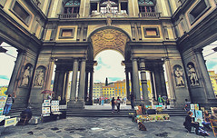 Florence, A Walk With A View (Fr@ηk ) Tags: piazzaledegliuffizifirenzetoscanaitalia davehill blueish ownpreset highpass art piazzaledegliuffizi firenze toscana italia frnk nf5rtt mg59 building city architecture street monument urban landmark arch tourism tower old palace travel outdoor downtown noperson bench sitting people person classicalarchitecture front outdoors facade man table spire symmetry park metropolis tourist column truck cathedral ancienthistory large church ancient touristattraction group bedrock history housing square ancientromanarchitecture standing townsquare sky basilica