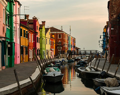 Burano Houses (Ann Kunz) Tags: burano island italy travel color landscape boats canal reflection europe