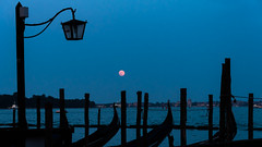 Pink Moon Over Venice (Ann Kunz) Tags: moon italy nature landscape travel venice gondolas nightphotography bluehour