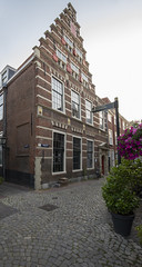 The Latin school in Leiden (fnks) Tags: painter artist rembrandtvanrijn denachtwacht leiden holland thenetherlands goldenage paintings university latinschool museum delakenhal galgewater mill citycarpenteryard drawbridge sky clouds water statue facingbrick