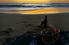 Ready for Midnight Snack ... (Le.Patou) Tags: challenge flickrfriday midnightsnack sunset night evening sea water beach beer bottle drink basket towel dark seaside seashore shore reflect reflection sand aquitaine médoc montalivet