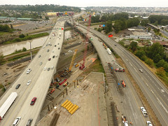 Aerial photo of the new southbound I-5 Puyallup River Bridge construction near 20th Street East (WSDOT) Tags: cm fife tacoma bridgeconstruction interstate5 puyallupriver