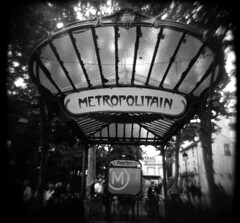 (Mattron) Tags: film analog ilfordfp4 d76 blackandwhite holga mediumformat paris france montmartre parismetro station artnouveau abbesses