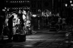 Closing Up Shop (Ann Kunz) Tags: italy people travel venice blackandwhite slowshutter piazzasanmarco nightphotography motionblur