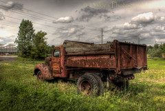 From Behind (HTT) (13skies) Tags: highdynamicrange hdr truck oldie pickuptruck field worktruck old relic daytime daylight wheels rusted tailgate happytruckthursday canont3i highway5 governorsroad sitting