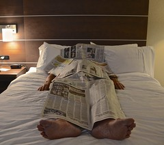 Newspaper Napping in Room 301 (ricko) Tags: selfportrait newspapers napping hotelroom werehere holidayinnexpress miami oklahoma 247365 2019