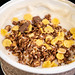 Chocolate mousli with corn flakes in the bowl