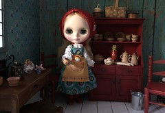 """BaD """"Home"""" September 8, 2019 (Foxy Belle) Tags: red cabinet cottage aqua peasant doll 16 scale wooden primitive wood blythe neo 12 matryoshka maiden russian playscale ooak dishes"""