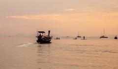 Sunset over Railay Beach (Thomas Retterath) Tags: thailand sunset holiday vacation railay krabi ao nang boat people orange ocean water andaman coth5