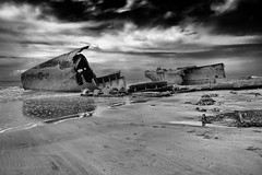 disaster (the ripped bystander) Tags: blackwhite seashore beach hautdefrance remains grounding