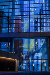 east lobby (pbo31) Tags: sanfrancisco california nikon d810 color night dark september 2019 boury pbo31 city urban architecture contemporary missionbay art sculpture blue chasecenter nba basketball arena sport warriors goldenstate reflection black