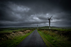 4th September 2019 (Rob Sutherland) Tags: rakes lane road weather storm stormy rain wet dark sky wind turbine mill windmill energy electricity generation generator renewable green eco environmental hareslack hill upland farm farming agriculture track cumbria cumbrian england english britain british uk hedges leading lines landscape ireleth ulverston furness barrow marton lindale