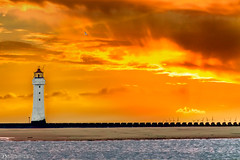 New Brighton Lighthouse (Bob Edwards Photography - Picture Liverpool) Tags: newbrighton wirral pictureliverpool bobedwardsphotography merseyside rivermersey water river sky orange lighthouse sunset