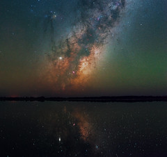 Milky Way at Yenyening Lakes - Beverley, Western Australia (inefekt69) Tags: yenyening lakes salt lake panorama stitched mosaic ms ice milky way cosmology southern hemisphere cosmos western australia dslr long exposure rural night photography nikon stars astronomy space galaxy astrophotography outdoor core great rift ancient sky d5500 landscape nikkor prime beverley wheatbelt reflections 50mm ioptron skytracker hoya red intensifier astrometrydotnet:id=nova3607759 astrometrydotnet:status=solved