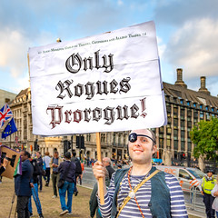 Only Rogues Prorogue! (DobingDesign) Tags: streetphotography parliament prostestor placard signage sign parliamentsquare piratecostume font oldenglishtext gawdy london westminster portcullishouse bluesky street eyepatch brexitprotest parliamentprotest prorogue photojournalism pirate rogue