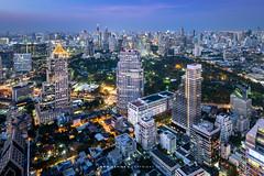 Lumphini Park and the Cityscape of Bangkok (imageofbangkok) Tags: abdulrahimplace bangkok bangkokcityscape banyantree banyantreebangkok banyantreebangkokhotel cityscape lungsuan ploenchit ramaivroad rooftopbar skyline twilight uchuliangbuilding vertigomoonbar viewpoint