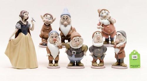 Lladro Disney Snow White Porcelain FiguresArtist signed, set of 8 ($672.00)